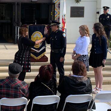 Santa Monica Police Chief Ramon Batista is sworn in in front of City Hall